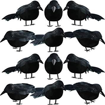 Amazon Com 12 Pieces Halloween Black Feathered Small Crows Black Birds Ravens Props Decor Realistic Looking Ha Black Bird Black Feathers Halloween Decorations