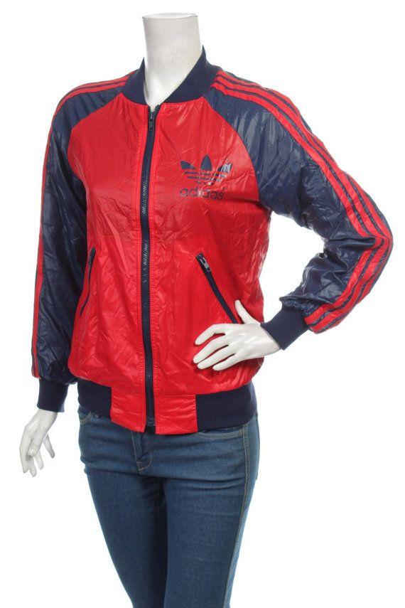 4c7b60a38c0f Vintage 80s Adidas Originals Trefoil Women s Bomber Jacket Color ...