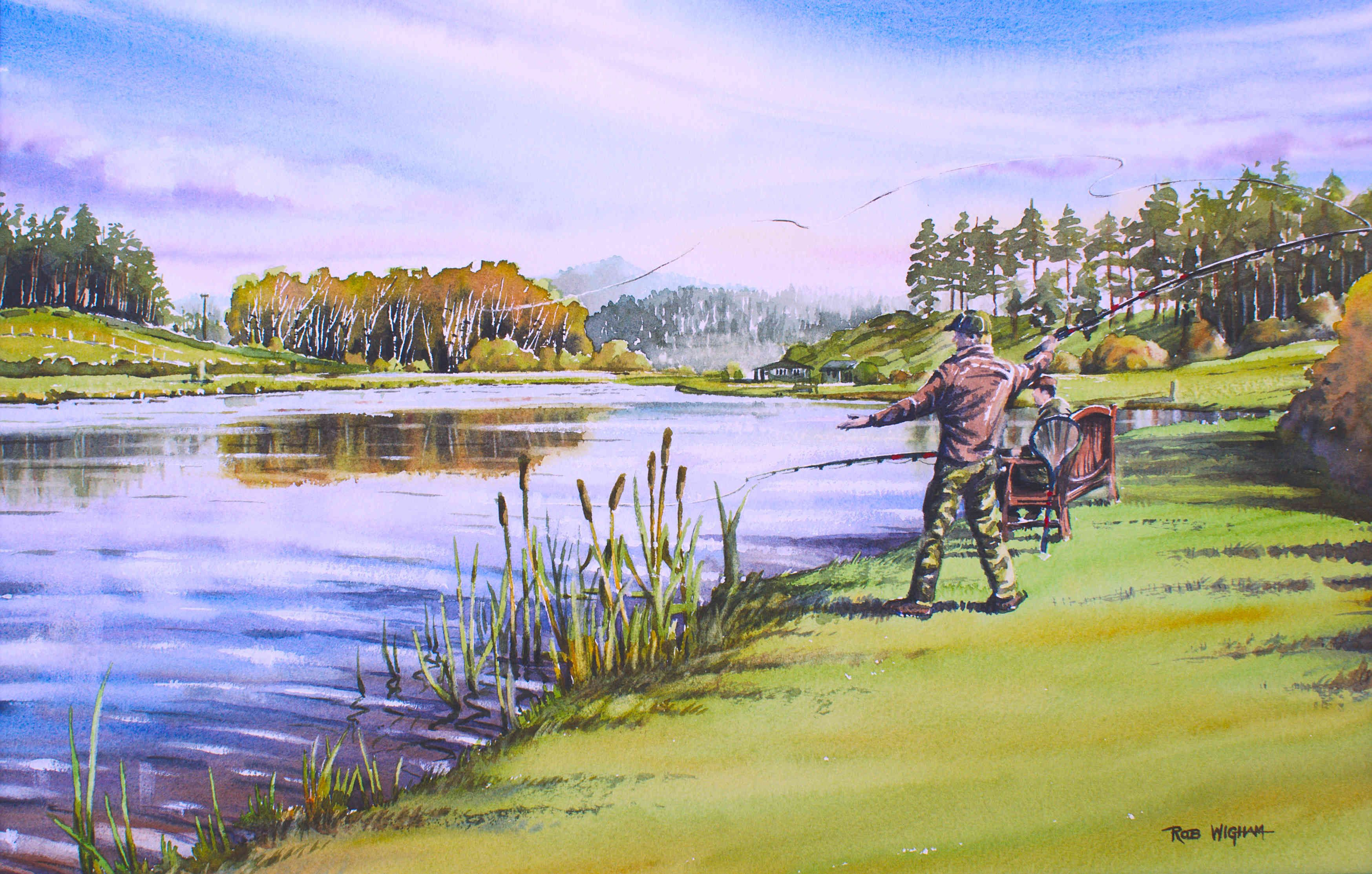 Fishing At Ward End Watercolour 52 X 35 Cm Art Painting