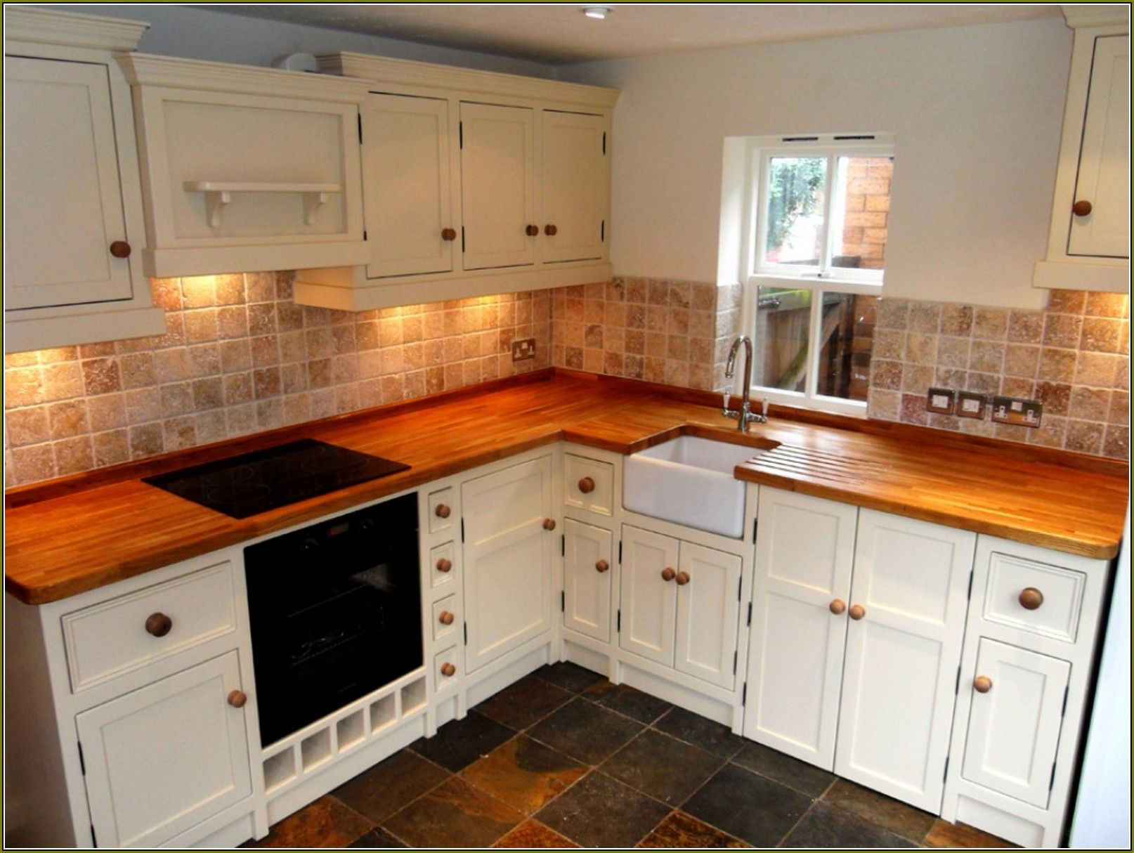 Find Kitchen Cabinets Tile Backsplash With Wood Countertop Google Search