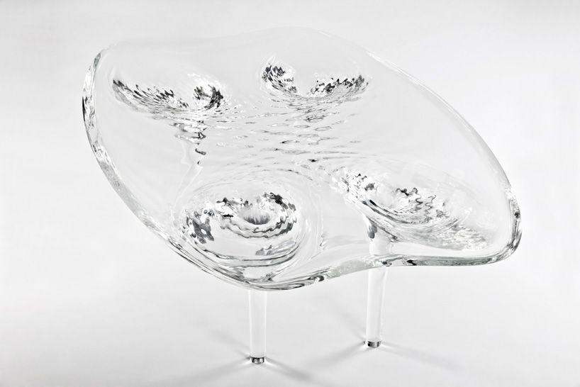 zaha hadid unveils prototype liquid glacial table