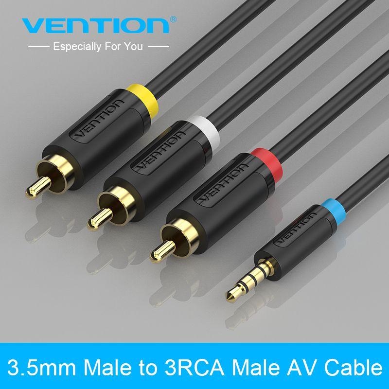 Vention 3,5mm klinke auf 3 rca stecker audio converter video av ...