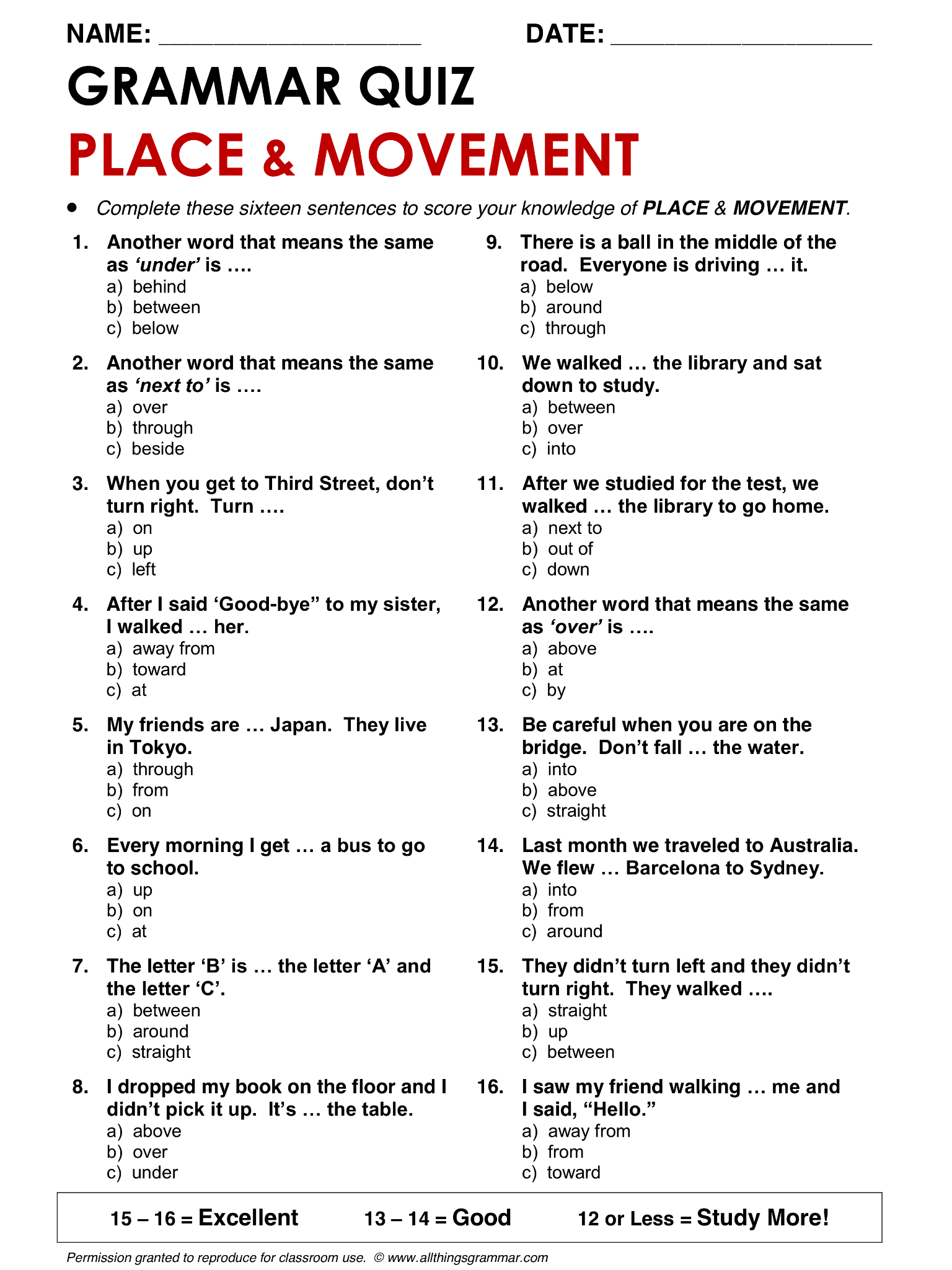 English Grammar Prepositions Of Place And Movement