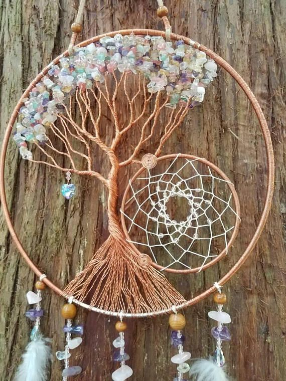 10in tree of life dream catcher wall hanging room decor mixed chips swarovski dream catchers. Black Bedroom Furniture Sets. Home Design Ideas