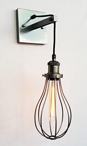 Purelumetm Retro Industrial Kafig Wire Wandleuchte Wandlampe Mit Edison T18 Tube 40w Gluhbirne Purelume Http Www Lampen Wandlampe Retro Industrial