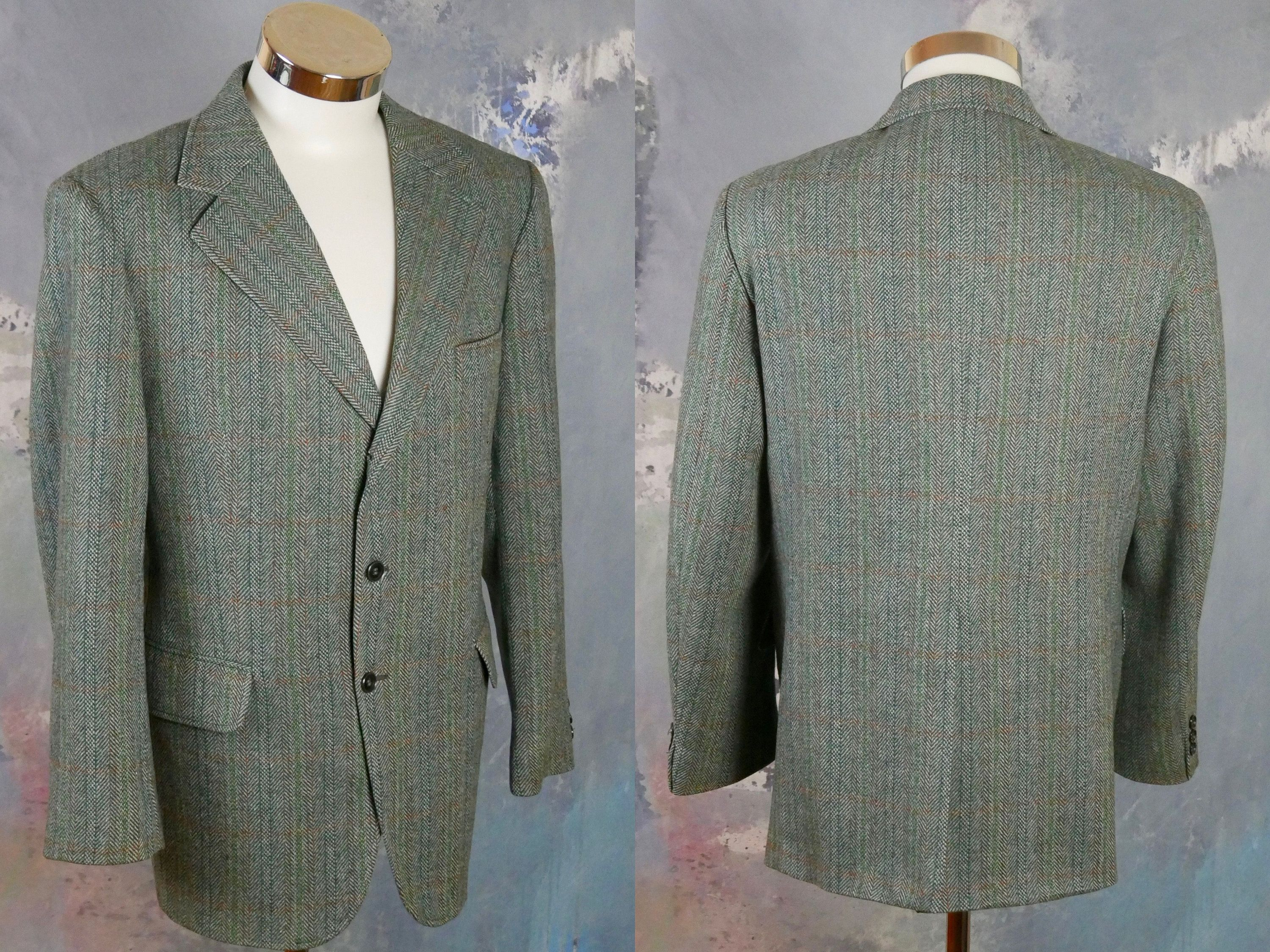 Men S Tweed Blazer 1990s European Vintage Single Breasted Etsy Tweed Blazer Blazer Herringbone Jacket