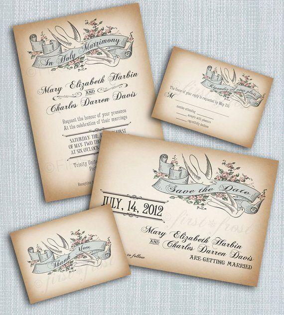 Printable Vintage Style Wedding Invitation Suite Diy 4 Pieces