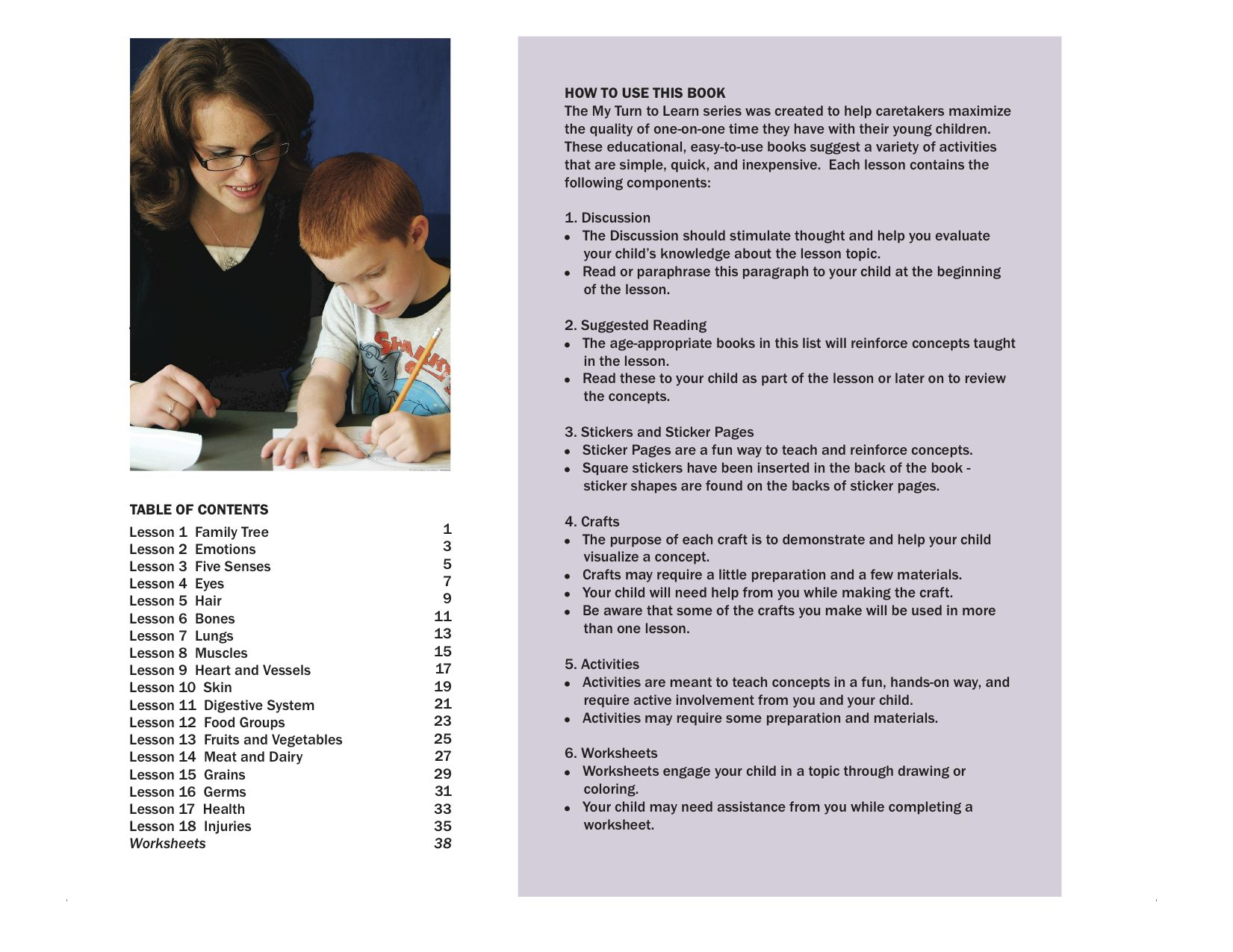 About Me Activity Book Table Of Contents