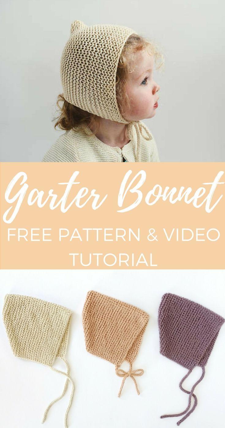 Spring Garter Bonnet - Free Pattern | Pinterest | Gestricktes baby ...