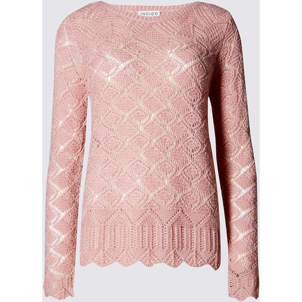 Indigo Collection Crochet Hem Jumper ($37) ❤ liked on Polyvore featuring tops, sweaters, pink, pink sweater, jumper top, crochet jumper, macrame top and pink crochet top