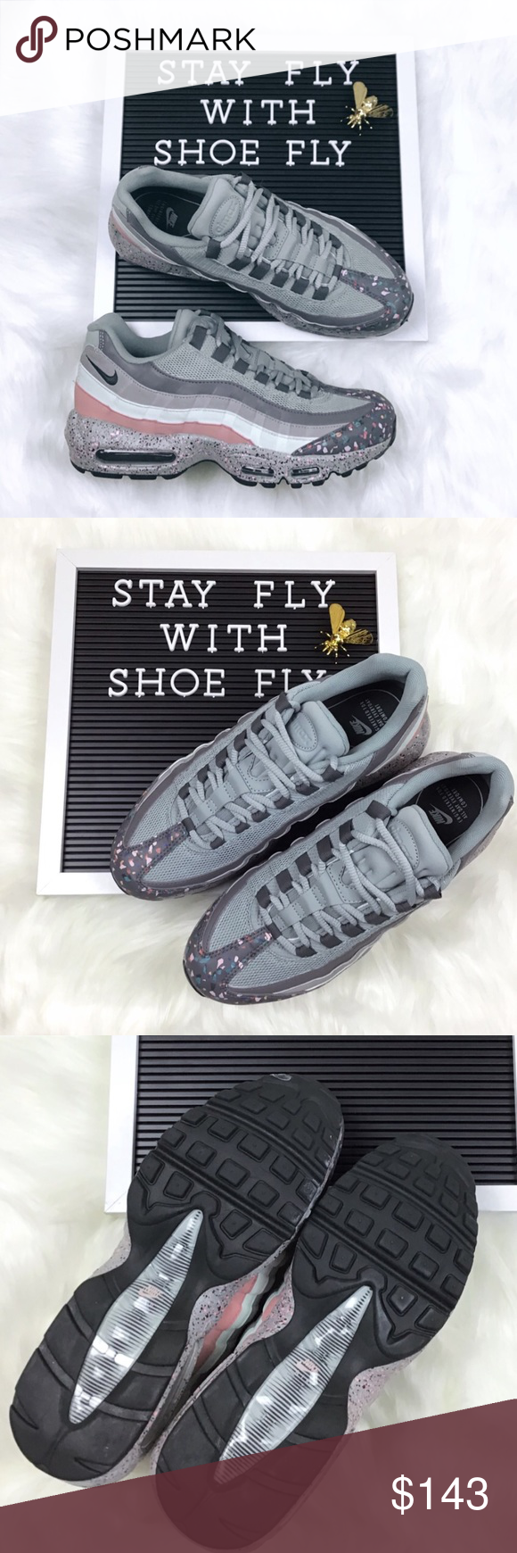 bbda6ce81d Nike Wmns Airmax 95 SE 'Confetti' Brand New without Box Women's size 9.5  Men's size 8 Grey/Light Pumice/Rust Pink Style Code: 918413-002 - Stay fly!