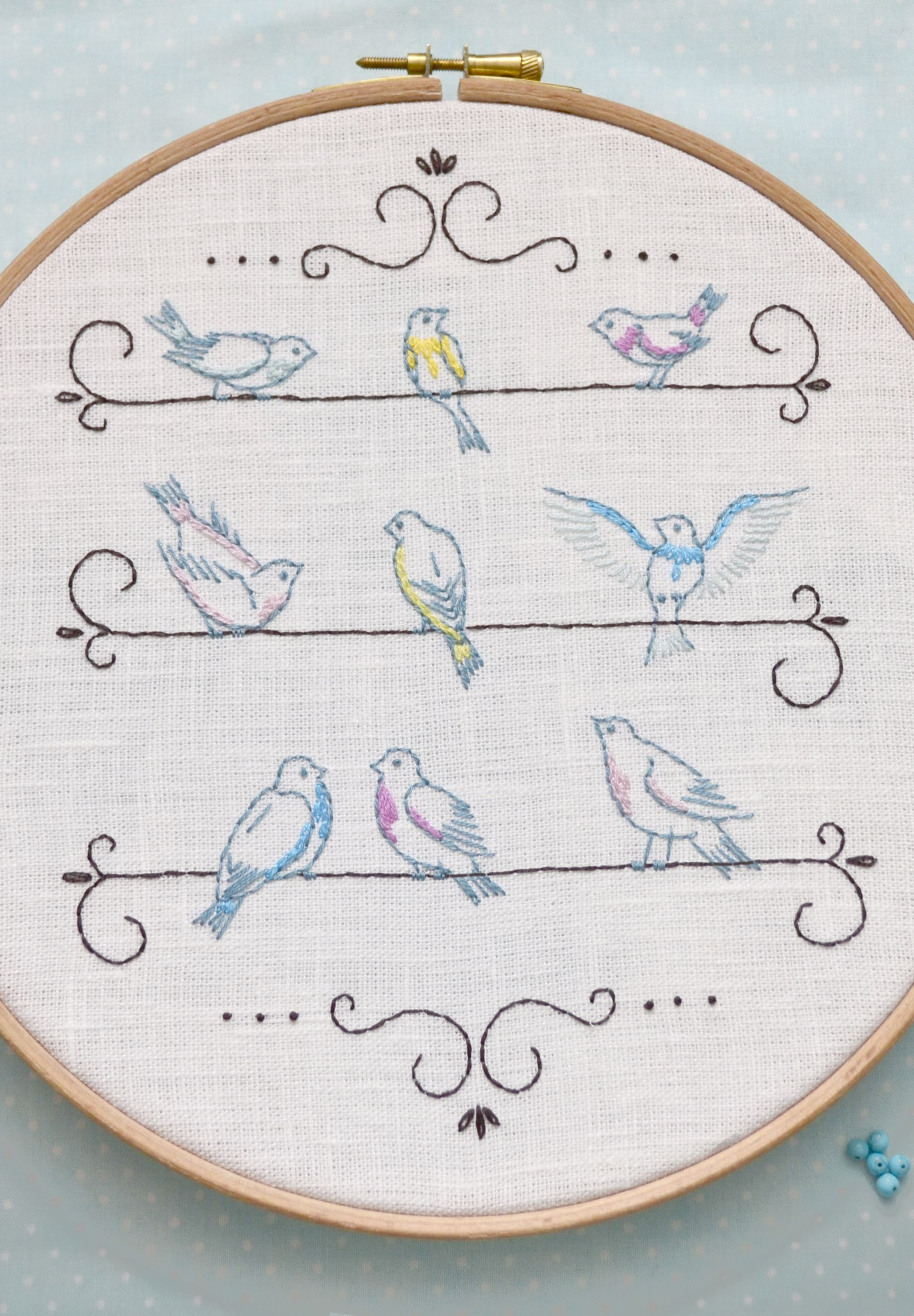 Hand Embroidery Pattern Bird Embroidery Pattern Shabby Chic Wall