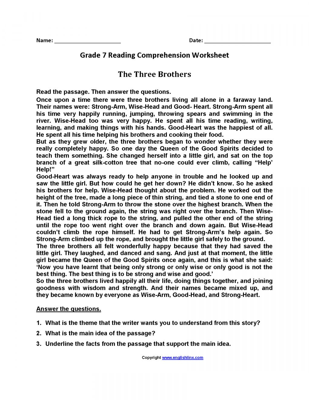 12 7th Grade Reading Passage Worksheet Reading Comprehension Worksheets Comprehension Worksheets Reading Comprehension