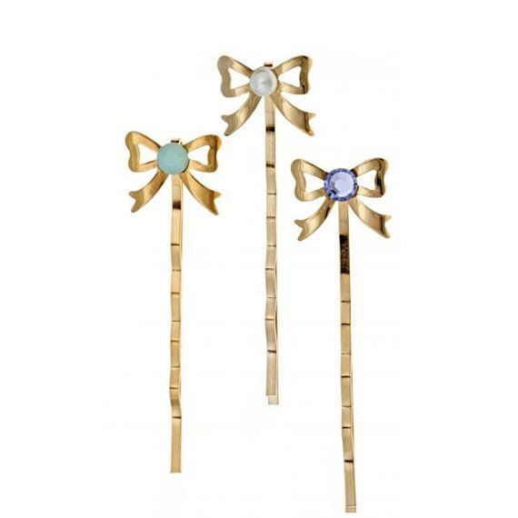 14k yellow gold plated set of bow bobby pins with by EmilyEJewelry (Accessories #bridemaidshair