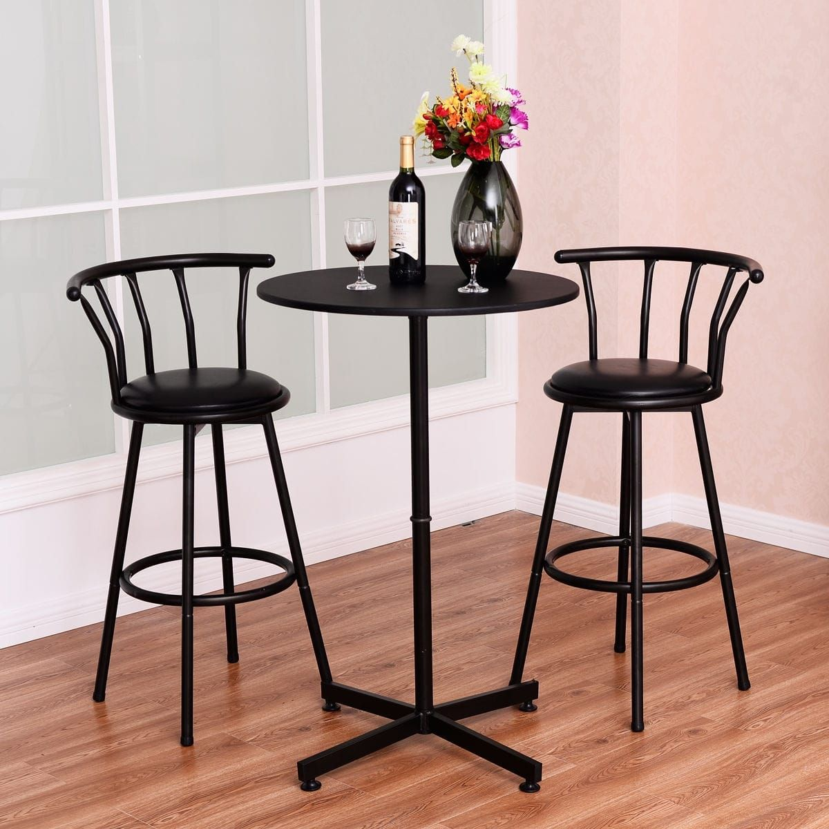 Costway 3 Piece Bar Table Set with 2 Stools Bistro Pub ...