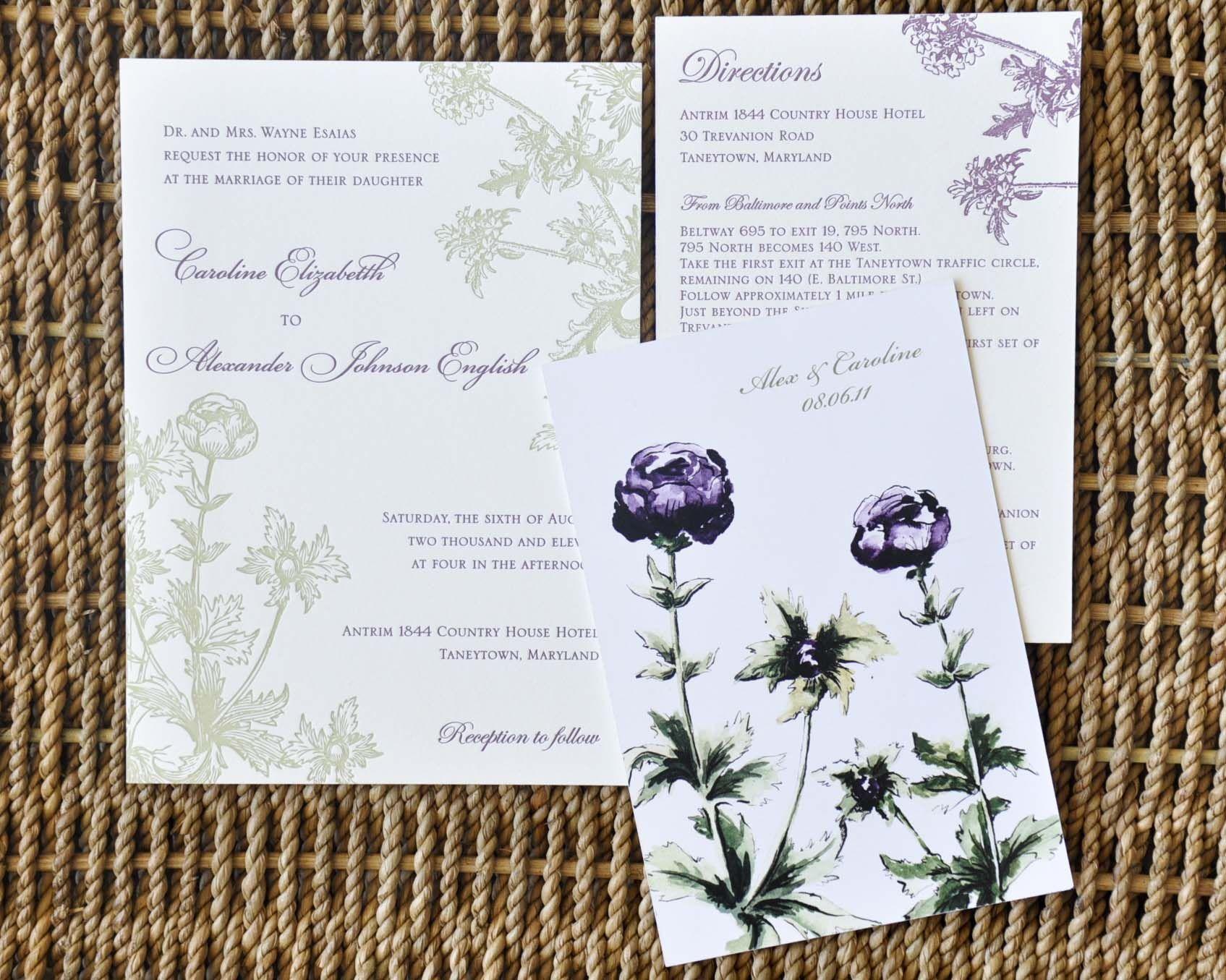 Letterpress Flowers Wedding Invitations // Inviting Affairs ...