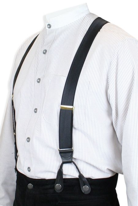 Vintage 40s Style Button On Braces Suspenders// Black