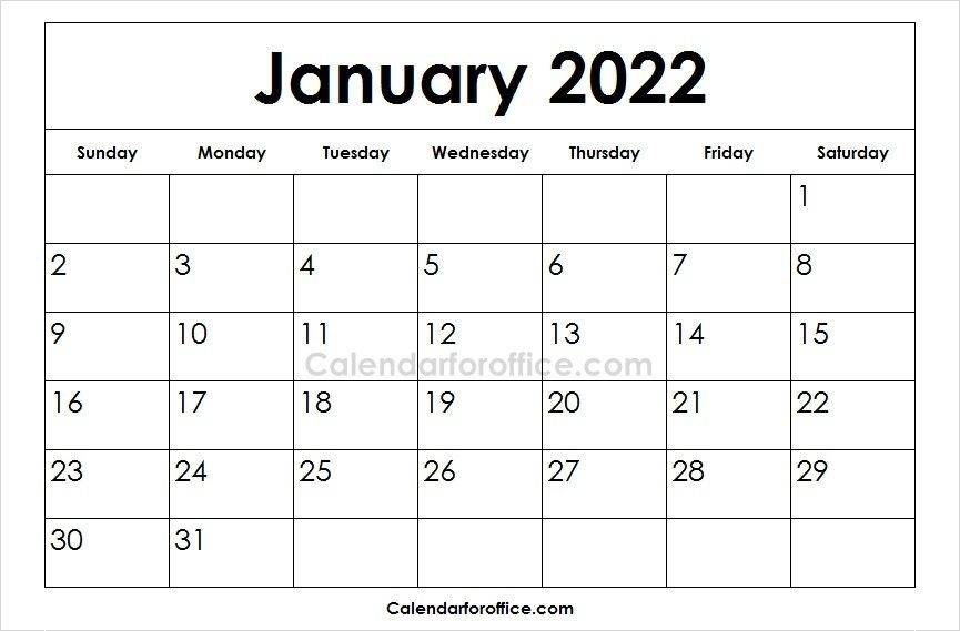 image regarding 2022 Calendar Printable identify Down load free of charge printable January 2022 Calendar within substitute