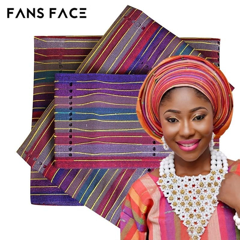 African Latest Aso Oke Gele Head Tie For Wedding Nigeria Traditional Headwear Beautiful Elegant Stripe Designs Head Ties Aso Oke Stripes Design