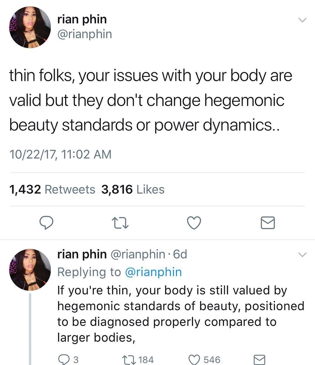 Both can be beautiful, both can be unhealthy, but you need to love your body, whether that means continuing as you are, eating better, or working out.