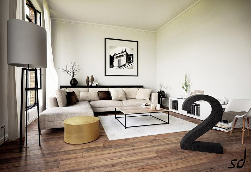 Admirable Magnificent Modern Living Room Interior Design Fitted With L Shaped Sofa Eames Molded Plastic
