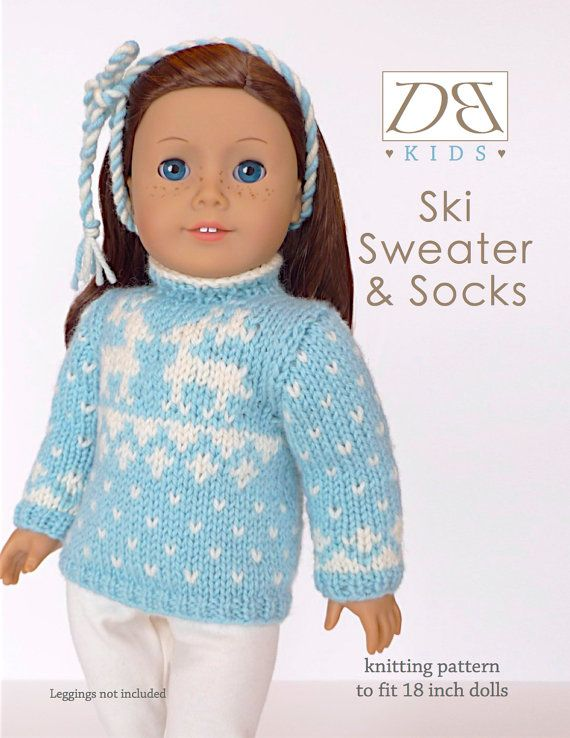 Doll clothes knitting pattern PDF for 18 inch American Girl type ...