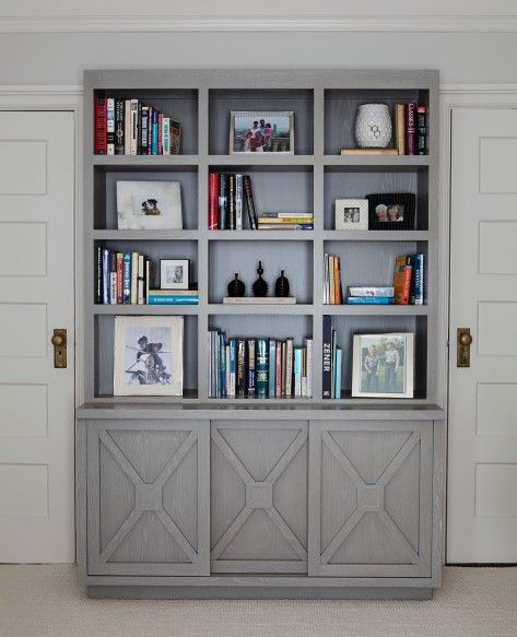 20 Home Office Bookshelves Designs Ideas: Shelving Bookcase With X Detail Grey Home Office