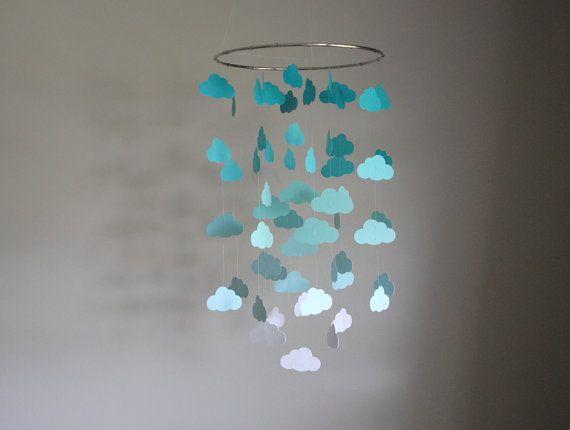 Mint/Türkis/Aqua Wolken Mobile / / Kindergarten Mobile - wählen Sie Ihre Farben