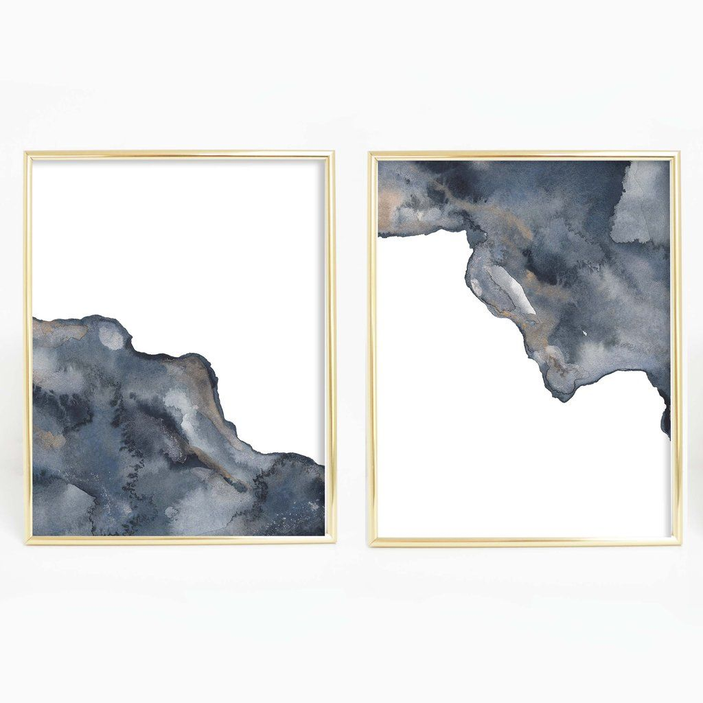 Modern Abstract Watercolor Painting Set Of 2 Wall Art Digital