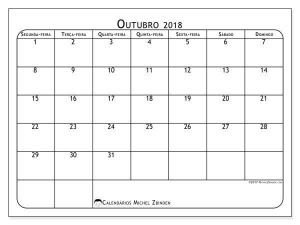 Resultado de imagem para calendário outubro 2018 excel para imprimir