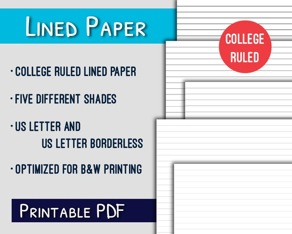Lined Paper Printable College Ruled Letter Lined Paper