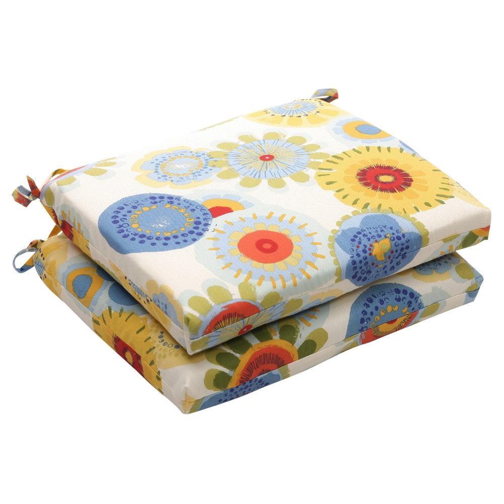 Outdoor 2-Piece Chair Cushion Set - Blue/White/Yellow Floral