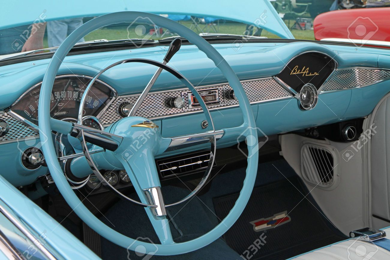 stock photo concord nc september 21 interior of a 1955 chevy bel air on display at the. Black Bedroom Furniture Sets. Home Design Ideas