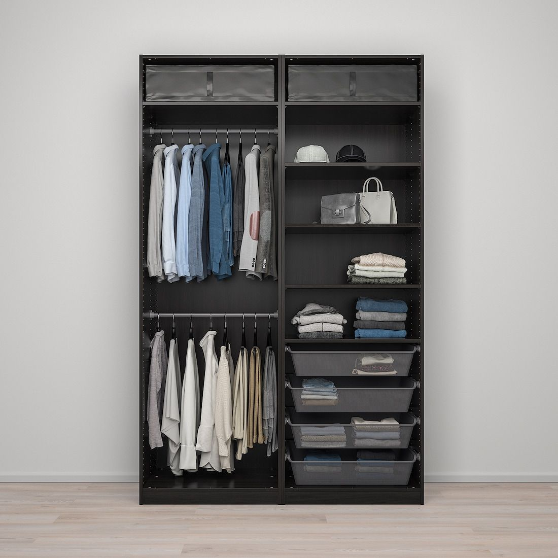 Pax Mehamn Sekken Wardrobe Combination Black Brown Frosted Glass 59x26x93 1 8 Ikea In 2020 Ikea Pax Frosted Glass Glass Wardrobe Doors