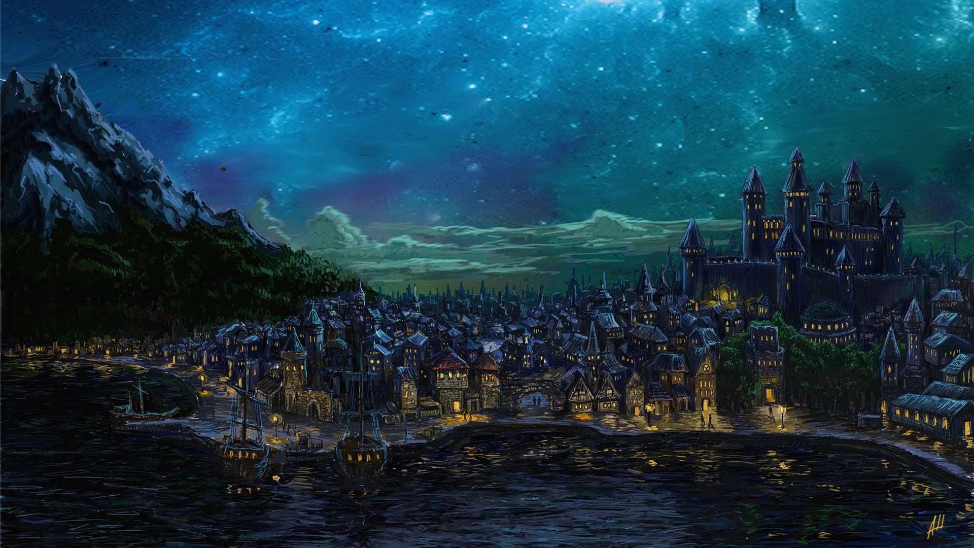 Waterdeep Wallpaper Hd Fantasy City Fantasy Landscape Dark City