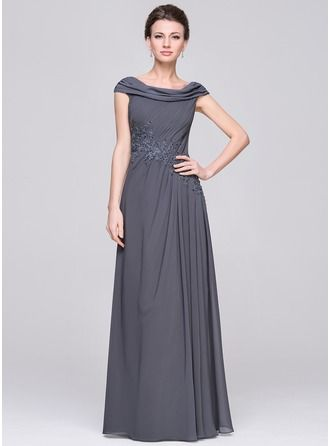 3e296e73d4e5b A-Line/Princess Scoop Neck Floor-Length Chiffon Mother of the Bride Dress  With Ruffle Beading Appliques Lace Sequins