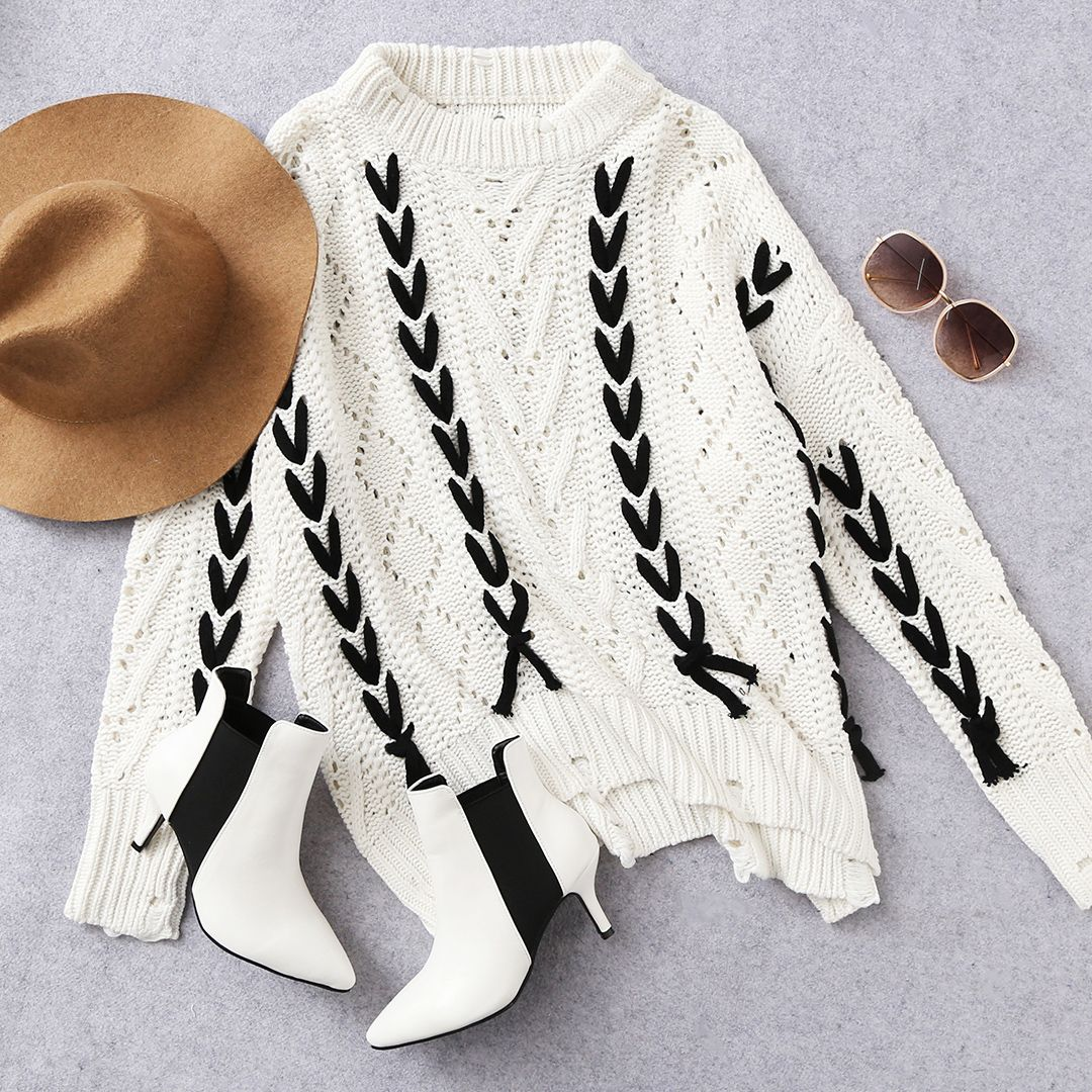 Mix & Match Contrast Lace Up Hollow Out Ripped Sweater