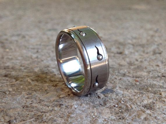 Mens Steel Ring Kinetic Jewelry Sperm Spinner Ring Stainless