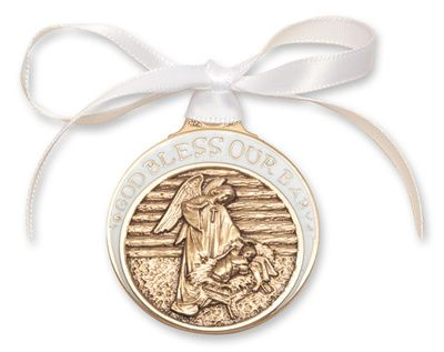 Gold Oxide Baby in Manger Crib Medal with White Ribbon