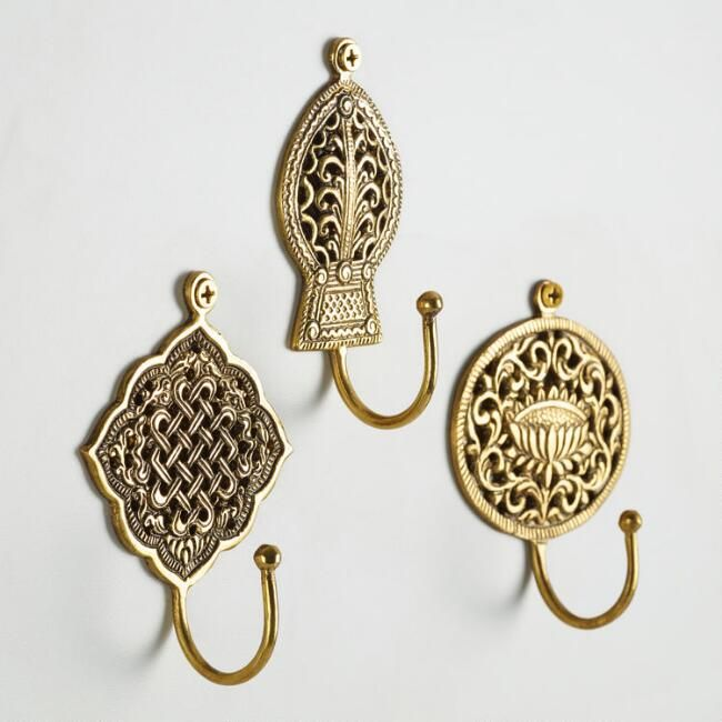 Set of three Handmade Vintage Style Solid Brass Antique Finish Wall Hook Hanger