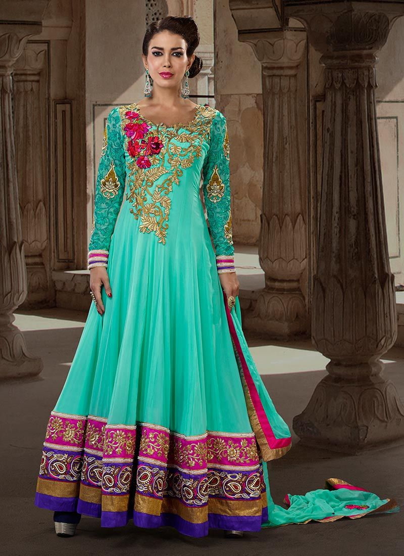 Incredible Color Combination Turquoise Floor Length