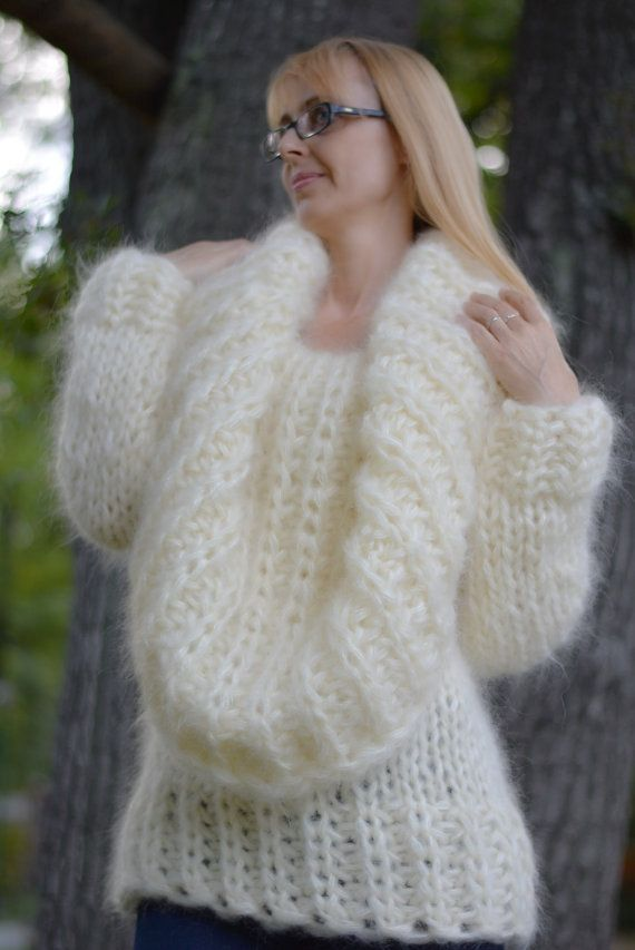 ORDER hand knitted mohair sweater fuzzy mohair pullover chunky ...