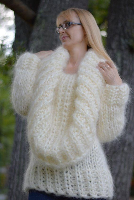 ORDEN tejido a mano mohair mohair fuzzy Jersey suéter mohair ... 22cfec017059