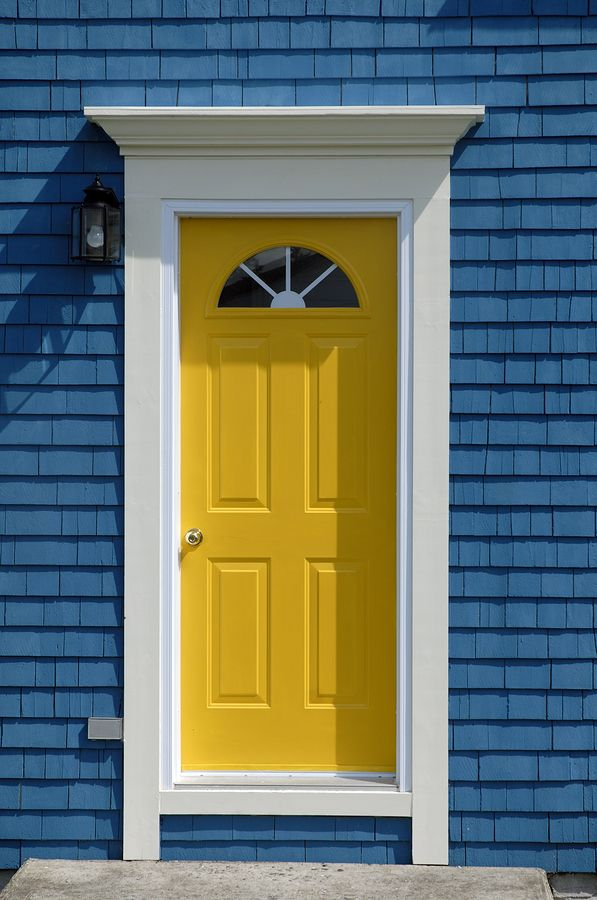 Simple bright yellow front door get the look with dunn for Front door yellow paint