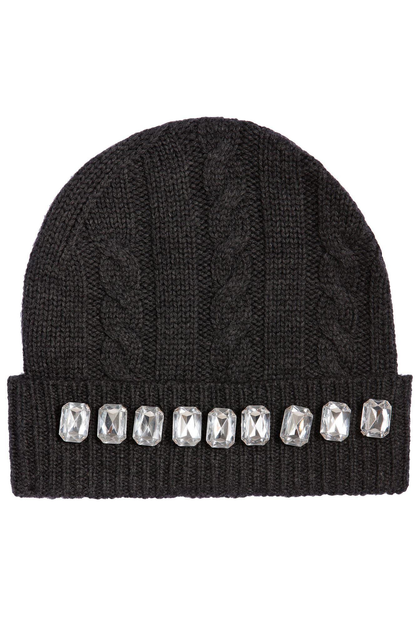 2f9da9892dc Cable Knit Jewel Beanie Hat