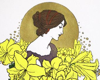 Liberty: Lady con ghirlanda di fiori (globo d'oro) - edizione limitata serigrafia