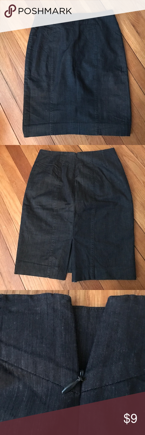 LOFT  size 0P Dark Blue Pencil Skirt Loft Pencil Skirt. Dark blue. Looks like light weight denim. Pair it with a number of combinations for many kids of outfits. Perfect for work or casual wear. In excellent condition! LOFT Skirts Pencil