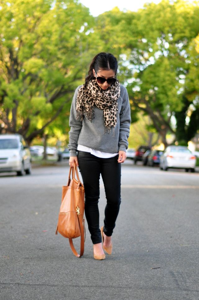 Alternative Apparel sweatshirt, 7 for all Mankind coated jeans, Warehouse leopard scarf, Foley and Corinna mid city tote, J.Crew Everly pumps