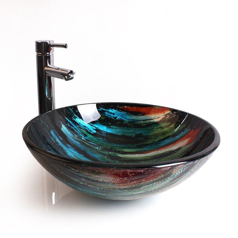 Eu Lager Glas Waschbecken Rund Bunt Stilvoll Ohne Wasserhahn