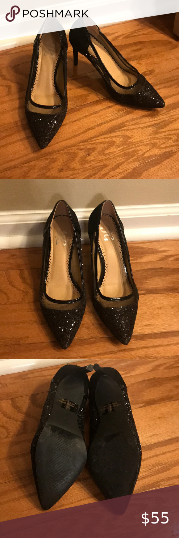 Black Glitter Kitten Heels Size 6 In 2020 Kitten Heels Shoes Women Heels Black Glitter Heels